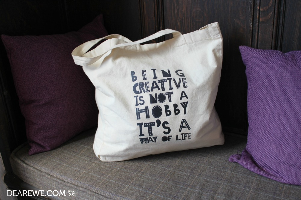 Dear Ewe Being Creative Tote Bag for crocheters and knitters