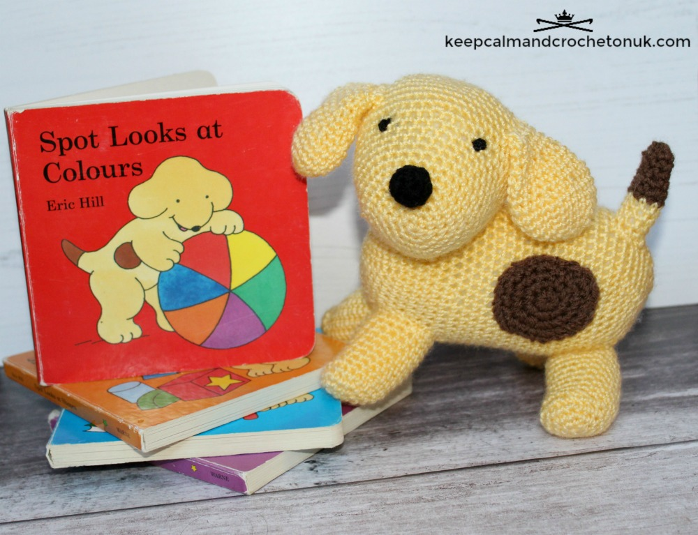 Crochet Spot the Dog Amigurumi next to some classic Spot the Dog books