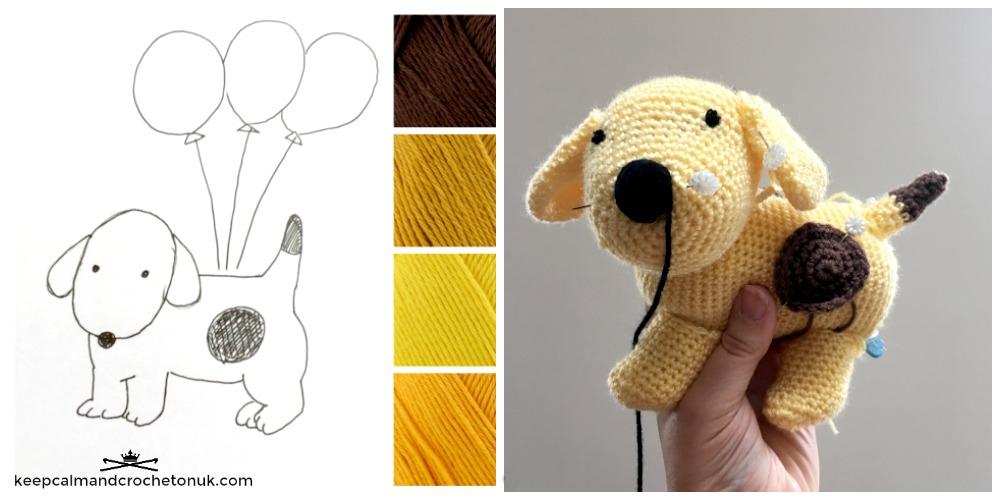 Crochet Spot the Dog Amigurumi designing in progress